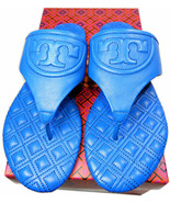 Tory Burch Fleming Thongs Sandals Blue Quilted Leather Slides Flip Flops... - $139.00