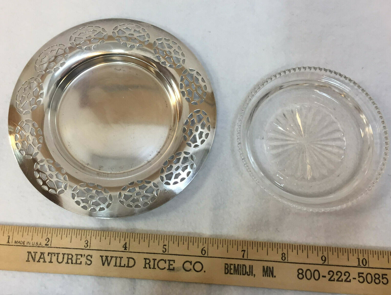 """WM A Rogers Silverplate Coaster w/ Glass Insert Vintage Tray Dish Ashtray 5.5"""""""