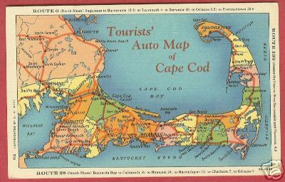 CAPE COD MA Rt 6 - 28 Auto Map North South Shore Linen