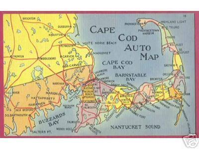 CAPE COD MASSACHUSETTS Nantucket Buzzards Map PC