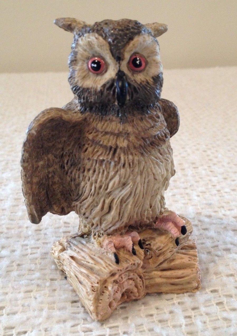 Clay-like Owl Figurine Sad Looking Sitting on Log 4 Inch