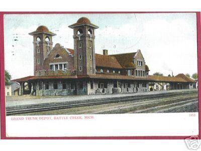 BATTLE CREEK MICHIGAN Grand Trunk Depot RR UDB 1907