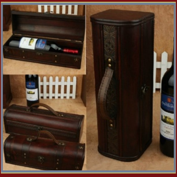 Old Country Wooden Wine Storage Carry Case with Leather Straps and Metal Clasps