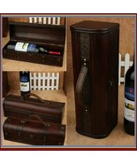 Old Country Wooden Wine Storage Carry Case with Leather Straps and Metal... - $72.95