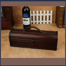 Old Country Wooden Wine Storage Carry Case with Leather Straps and Metal Clasps  image 2