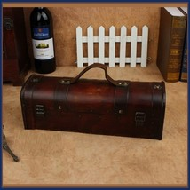 Old Country Wooden Wine Storage Carry Case with Leather Straps and Metal Clasps  image 3