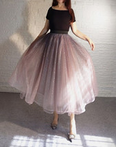 Rose Sparkle Tulle Skirt Long Tutu Glitter Skirt Rose Gold Sequin Party Outfit image 5