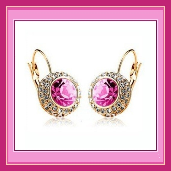 CZ Rhinestone Encircle Pink Topaz Austrian Crystal 18k Gd Pl Pierced Earrings
