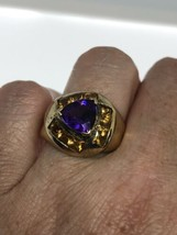 Vintage Purple Amethyst Ring Citrine Gold 925 Sterling Silver Size 6 - $163.35