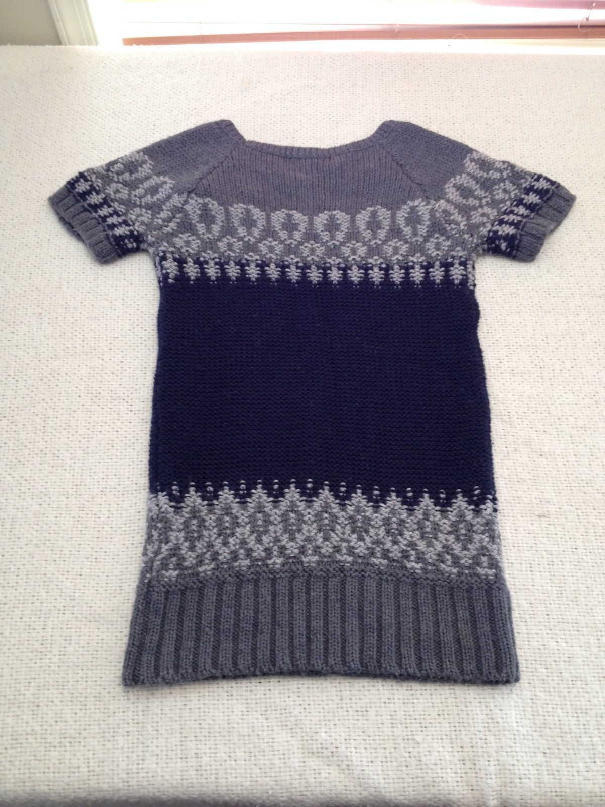 The Limited Short Sleeve Sweater Navy/Gray Women's XS image 9