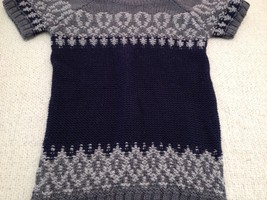 The Limited Short Sleeve Sweater Navy/Gray Women's XS image 5