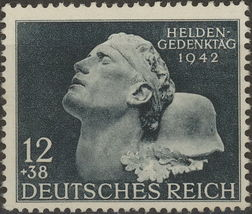 1942 German War Hero Postage Stamp Catalog Number B202 MNH