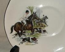 G12 Duchess Bone China Saucer Only Fox Hunt Brown Horses Dogs Equestrian