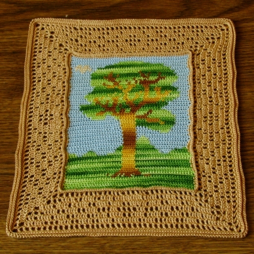 Tree and Bird Landscape Thread Crochet Tapestry Art Decor - RSS Designs In Fiber