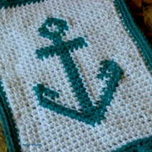 Boat Anchor Crochet Tapestry Art Decor Fringed ... - $15.00