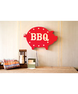 Metal Red BBQ Marquee/Sign wiith Lights,29.5'' x 20''H. - $355.00