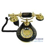 Nostalgic Porcelain Phone Telephone Black Porcelain w/ Delicate Flower P... - $56.88