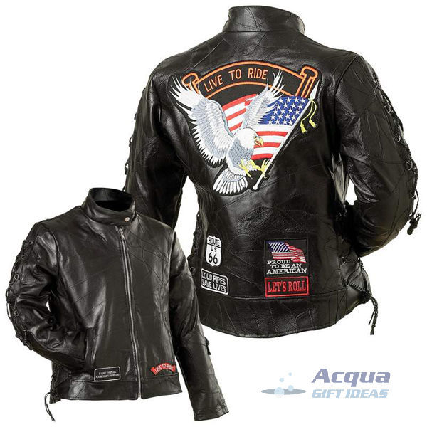 Bike Motorcycle Ladies Leather Jacket w/ Flag Patches