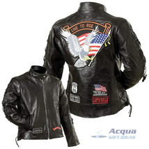Bike Motorcycle Ladies Leather Jacket w/ Flag Patches image 1