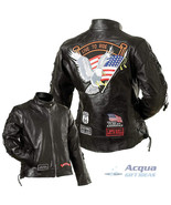 Bike Motorcycle Ladies Leather Jacket w/ Flag Patches - $56.88