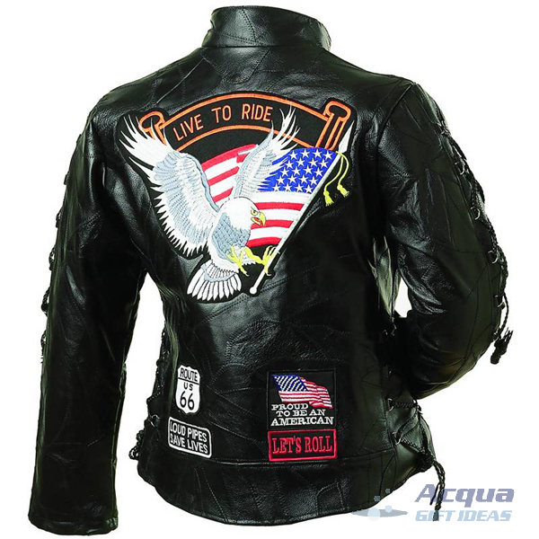Bike Motorcycle Ladies Leather Jacket w/ Flag Patches image 2