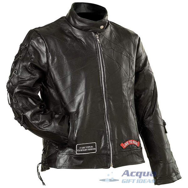 Bike Motorcycle Ladies Leather Jacket w/ Flag Patches image 4