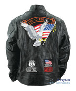 Bike Motorcycle Leather Jacket w/ Flag Eagles Patches - $58.88