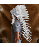 Real Feather All White Chief Indian Headdress 90cm, Native American Costume Hand - $109.99