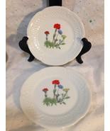 2 Two Small Canape Dessert Plates Lourioux Berry Haute Porcelain France - $15.58