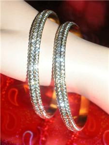 8.5 INCH 18K GOLD PLATED 3 ROW PAVE RHINESTONE CHANNEL SET ETERNITY BANGLE