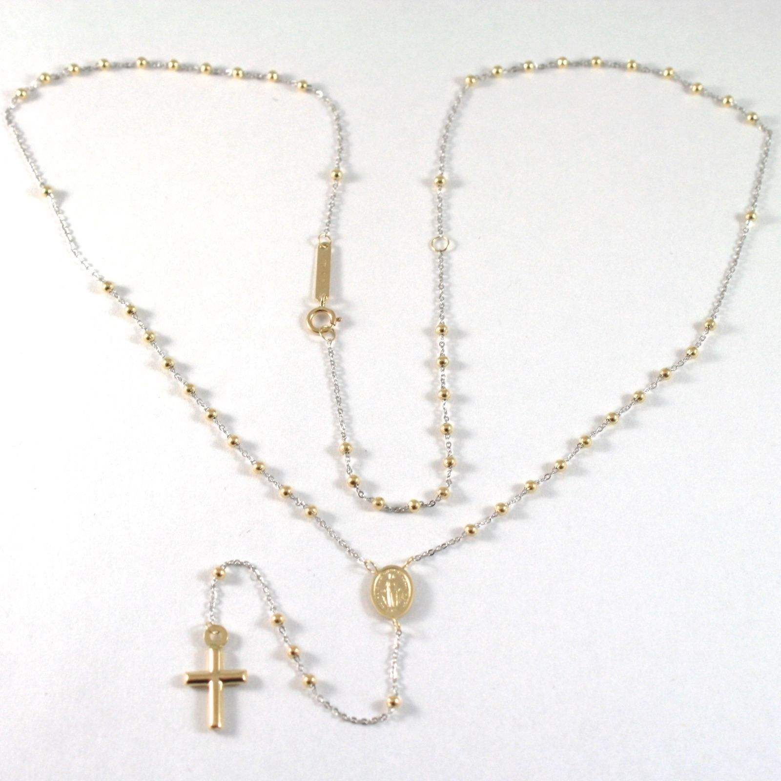 NECKLACE ROSARY YELLOW GOLD AND WHITE 750 18K, MEDAL MIRACULOUS, CROSS 47 CM