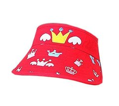 Children Sun Protection Hat Mini Cute Crown Cap Without Top 2-4 Years(Red)