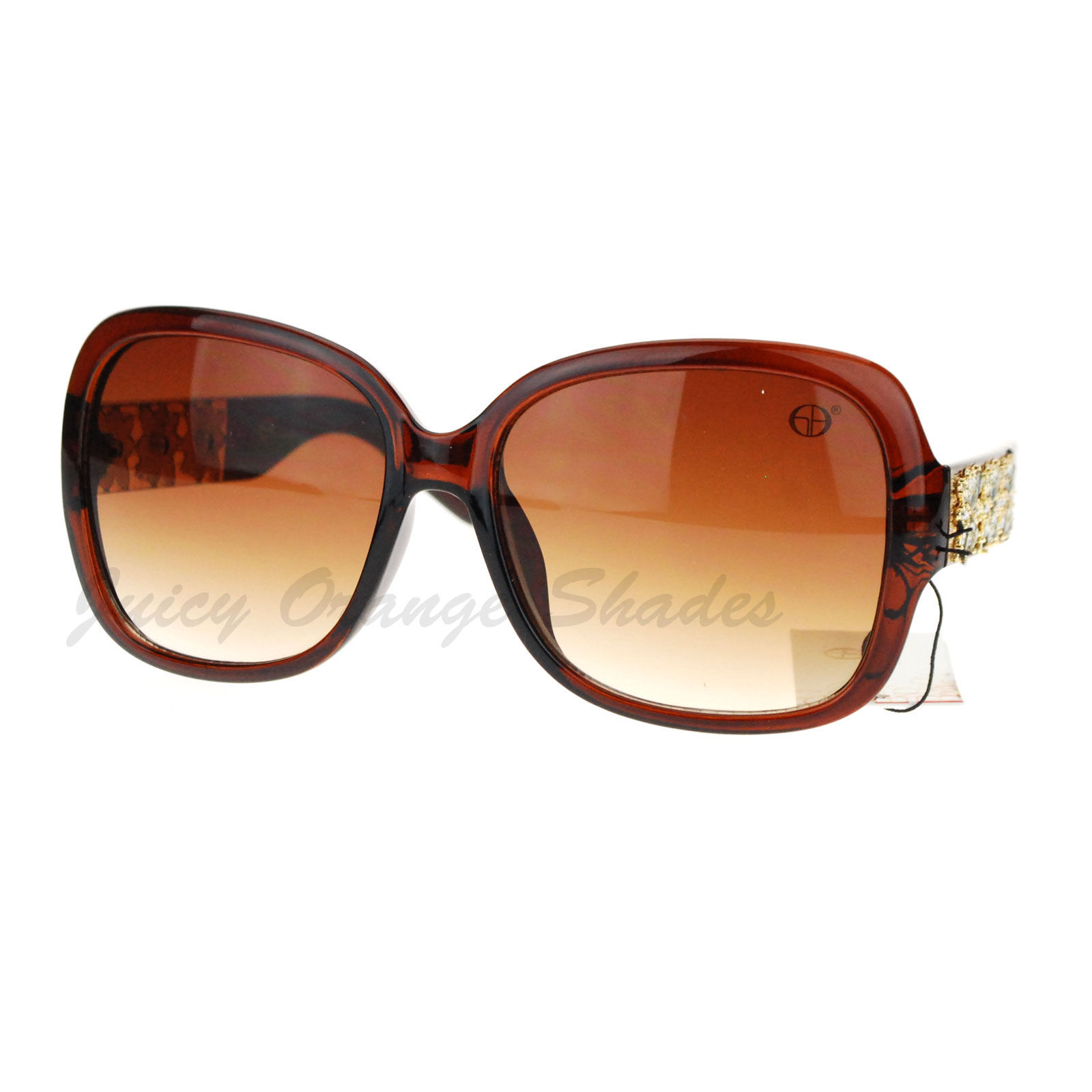 Designer Fashion Womens Sunglasses Square Frame Floral Rhinestones