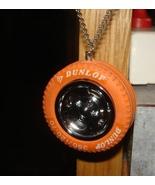 VINTAGE NOVELTY RACING DUNLOP TIRE WHEEL NECKLACE ORANGE NASCAR NHRA FAN... - $8.99