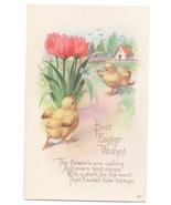 Easter Wishes Chicks Tulips Butterfly Vintage Karle Poem Postcard Litho - $4.99
