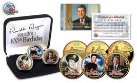 Ronald Reagan 100 Th Birthday 24 Kt Gold Statehood Quarter 3 Coin Set! Signatured! - $24.49