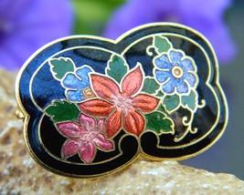 Vintage cloisonne black enamel scarf ring slide multicolor flowers thumb200
