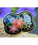 Vintage cloisonne black enamel scarf ring slide multicolor flowers thumbtall