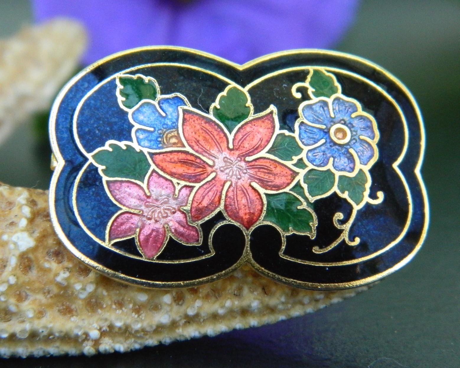 Vintage Cloisonne Black Enamel Scarf Ring Slide Multicolor Flowers