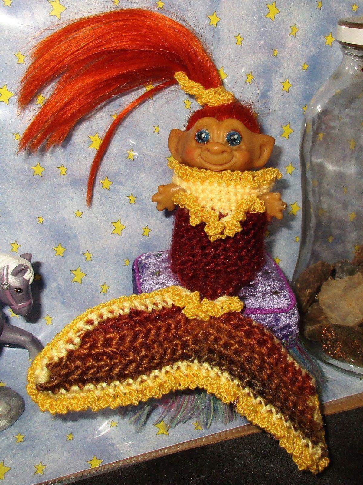 "MERMAID ROOTIE TROLL 3"" doll ooak vintage Dress Gown beach sexy autumn fall oran image 3"