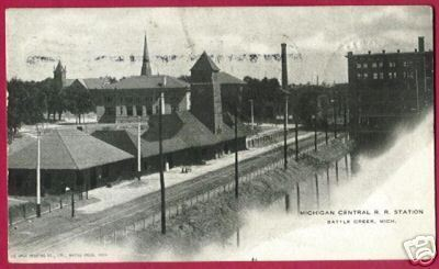 BATTLE CREEK MICHIGAN Central RR Depot MI UDB 1905