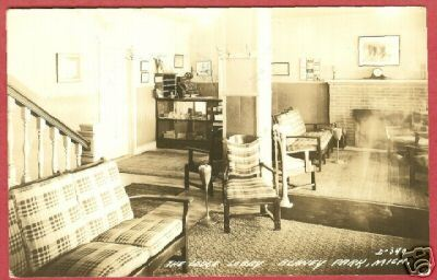 Blaney Park MI Lodge Lobby 1941 RPPC Postcard BJs