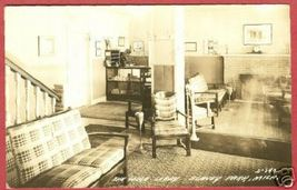 Blaney Park MI Lodge Lobby 1941 RPPC Postcard BJs - $14.99