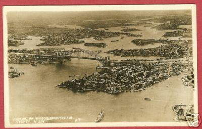 Sydney Australia Harbor Air View RPPC Postcard BJs