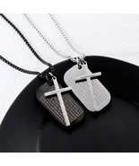 Cross Necklaces Pendants Christian Bible Lords Prayer Dog Tags Stainless... - $12.90