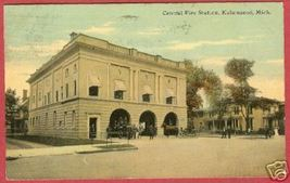 Kalamazoo MI Postcard Central Fire Station 1911 BJs - $14.99