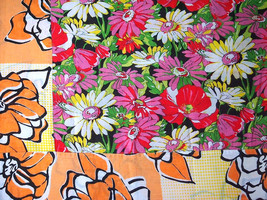 Floral Chita Tablecloth in Black, Pink and Orange - $30.00