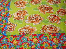 Floral Chita Tablecloth in Green and Orange - $30.00