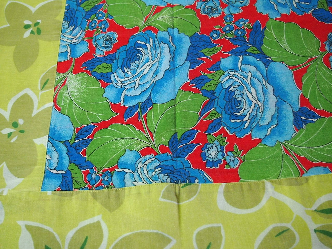 Floral Chita Tablecloth in Blue and Green - $30.00