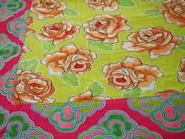 Floral Chita Tablecloth in Green and Pink - $30.00
